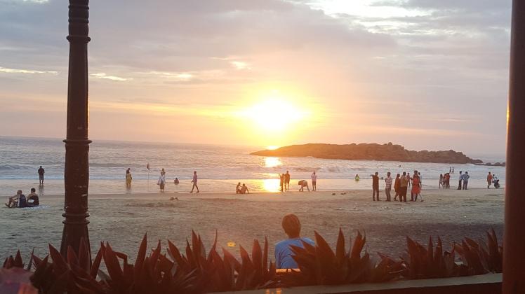 Sunset Kovalam Inde India Plage Beach