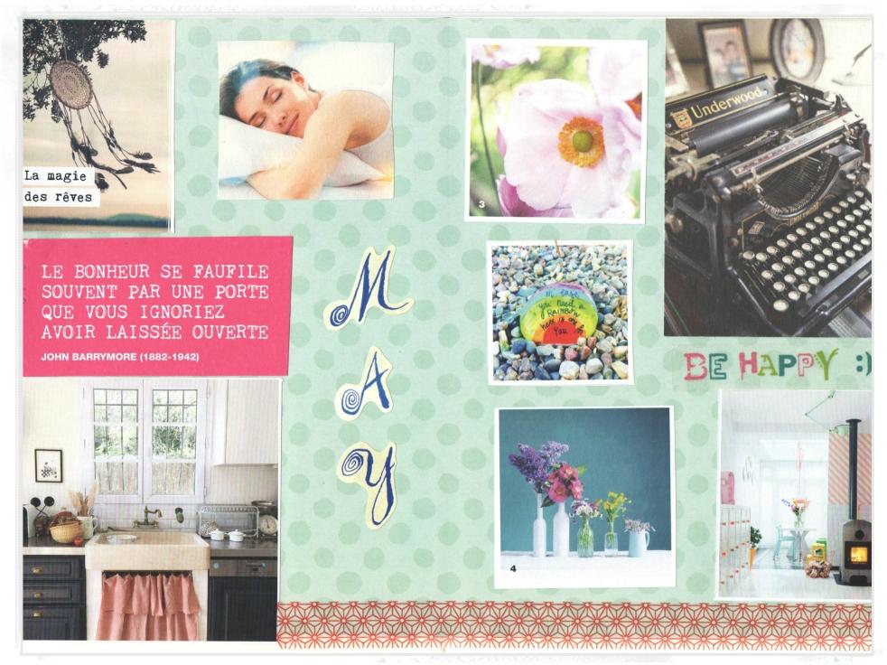 Bullet Journal Monthly Spread Mai 2018 Fleurs machine à écrire sommeil Maison