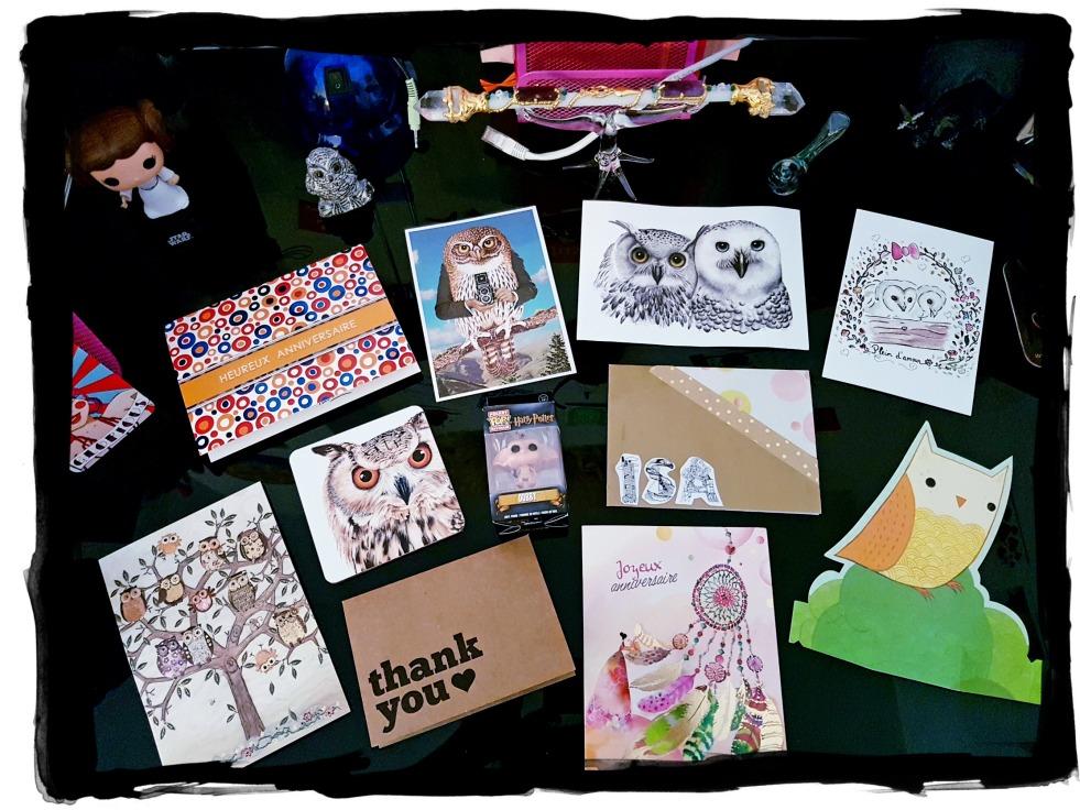 Birthday cards snail mail cartes d'anniversaires chouettes owl blog développement personnel aujourd'hui je m'aime self-love