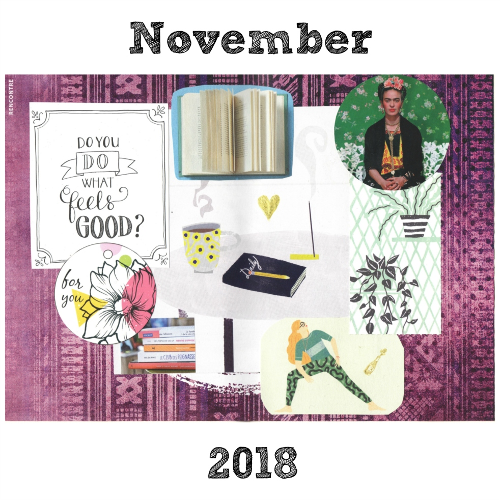 BuJo Bullet Journal Monthly Spread Collage Manifestation Work Writing Translation Frida Kahlo Yoga Books Journaling
